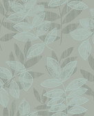 2793-87323 Chimera Turquoise Flocked Leaf Wallpaper