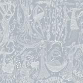 2782-1765 Lindberg Slate Blue Folk Wallpaper