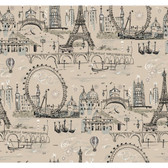 Beige Book Novelty Euro Scenic Wallpaper - BL0438
