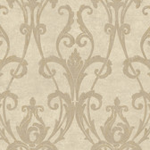 Beige Book Ogee Damask Wallpaper - TG1905