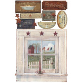 RMK2147SLM-Welcome Home Outhouse Window And Signs Wall Decals Wall Applique