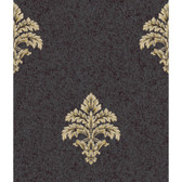 Saint Augustine Baroque Medallion Fleur De Lis BQ3899 Wallpaper in Eggplant and Gold