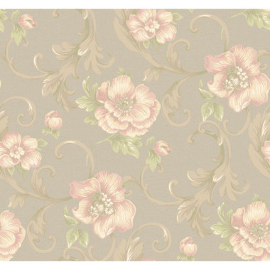 Heritage Home Classic Promenade Wallpaper Silvery Gold Pearl Metallic Rose Pink Mint Green