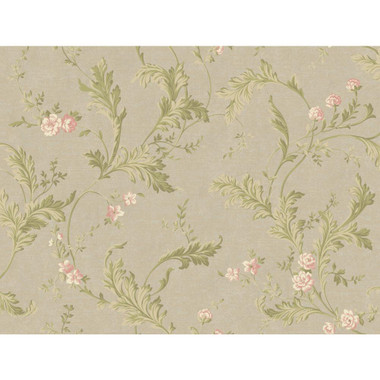 Heritage Home Delicate Acanthus Wallpaper Pearled Silver Metallic Soft Olive Green Rose Pink