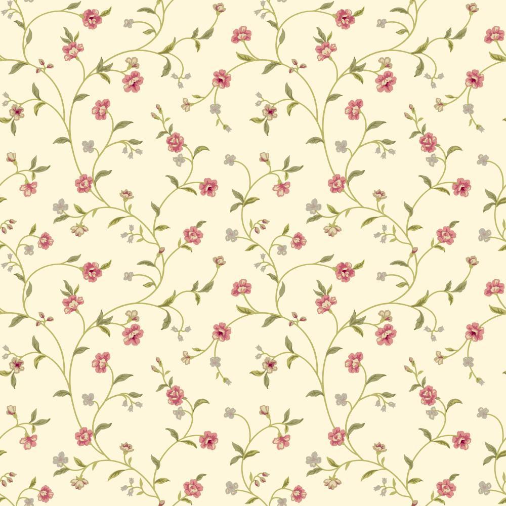 Waverly Cottage Bellisima Vine Rose Cream Wallpaper Er8189