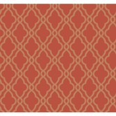 WA7707-WAVERLY CLASSICS  HAMPTON TRELLIS  WALLPAPER-Tomato-Caramel