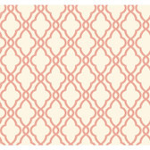 WA7715-WAVERLY CLASSICS  HAMPTON TRELLIS  WALLPAPER-Coral-Cream