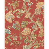 WA7735-WAVERLY CLASSICS  CASA BLANCA ROSE WALLPAPER-Tomato-Sky Blue-Beige-Olive-Blue Sky-Peach-Cocoa-Moss-Spruce-Yellow-Green