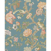 WA7736-WAVERLY CLASSICS  CASA BLANCA ROSE WALLPAPER-Teal-Eggshell-Tomato-Mustard-Lilac-Cocoa-Moss-Spruce-Yellow-Green