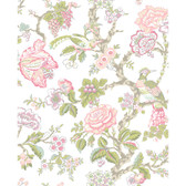 WA7739-WAVERLY CLASSICS  CASA BLANCA ROSE WALLPAPER-Cream-Rosy Pink-Aqua-Lilac-Lime-Moss-Taupe-Red Raspberry