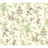 WA7772-WAVERLY CLASSICS  MANDARIN PROSE WALLPAPER-Eggshell-Gray-Cocoa-Mint-Buff-White