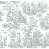 WA7830-WAVERLY CLASSICS  COUNTRY LIFE WALLPAPER-Pure White-Delft Blue