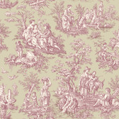 WA7831-WAVERLY CLASSICS  COUNTRY LIFE WALLPAPER-Medium Taupe-Cranberry-Cream