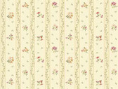 Keepsake Floral Toss Stripe Pink-Banana Yellow Wallpaper GP7280