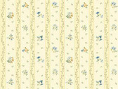 Keepsake Floral Toss Stripe Blue-Cream Wallpaper GP7283