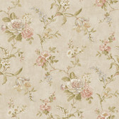 Nantucket Floral Trail Wallpaper in Linen, Green, Blush NK2001