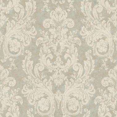 Nantucket Ornamental Toile Slate Parchment Wallpaper NK2089