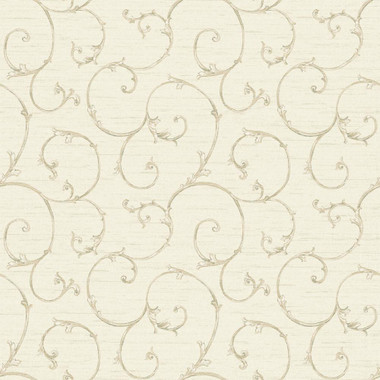 Nantucket Small Decorative Scroll Parchment Wallpaper NK2149
