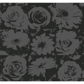 Risky Business II Petal Pusher Wallpaper RB4200 -Black-Black Lacquer