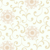 Silhouettes Daisy Medallion with Scrolls Linen Wallpaper AP7456