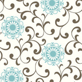 Silhouettes Daisy Medallion with Scrolls Teal Wallpaper AP7459