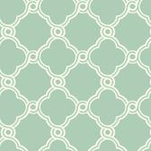 Silhouettes Fretwork Trellis Aqua Wallpaper AP7493