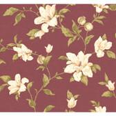 Regents Glen My Magnolia Wallpaper-PP5744-Claret Wine-White-Light Olive Green