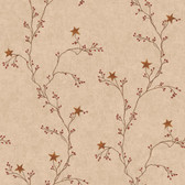 Faith, Hope, and Love Star Berry Vine Wallpaper-RF3527-Khaki