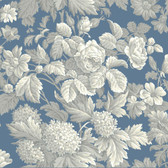 Blue Book Antique Floral Wallpaper KC1845-Wedgwood Blue, Gray and White