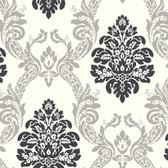 AB2027 - Ashford House Black & White Ogee Damask Silver-Black Wallpaper