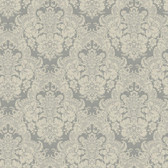 AB2075 - Ashford House Black & White Document Damask Grey Wallpaper