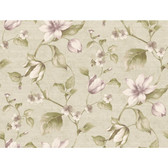 Pink & Purple Book Tulip Floral Wallpaper CG5622-Light Pewter Metallic