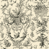 AB2139 - Ashford House Black & White Old World Toile Cream-Black Wallpaper