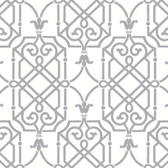 AB2146 - Ashford House Black & White Geometric Lattice Silver-White Wallpaper