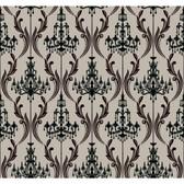 AB2171 - Ashford House Black & White Chandelier Damask Taupe-Black Wallpaper