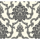 AB2182 - Ashford House Black & White Decorative Damask Wallpaper in Black and Cream