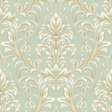 Texture Graystone Estate Whitworth Peony HD6918 Mint Green Pink Wallpaper