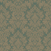 Texture Graystone Estate Raised Layered Damask HD6929 Ocean Blue-Taupe Wallpaper