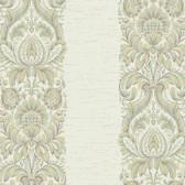 Texture Graystone Estate Stripe Damask HD6943 Ivory-Green Wallpaper