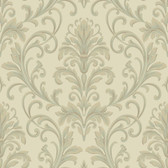 Texture Graystone Estate Feathered Damask HD6955 Sage-Cream Wallpaper