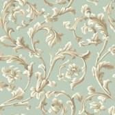 Texture Graystone Estate Grand Hunt Scroll HD6968 Mint Green Wallpaper