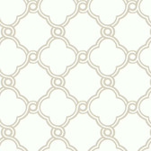 AP7481 - Ashford House Black & White Open Trellis Wallpaper in Silver and White