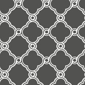 Ashford House Black & White - AP7490 Open Trellis Wallpaper in Charcoal Grey, White