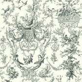 Ashford House Black & White - AT4237 Old World Toile White-Grey Wallpaper