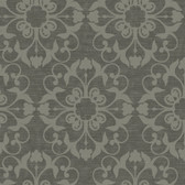 Charcoal NA0208 Damask on Faux Wood Wallpaper