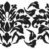 Border Book Damask Appliques RMK1171GM - Black