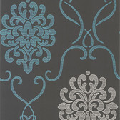 DL30443 - Accents Suzette Aqua Modern Damask Wallpaper