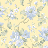 Berkin Large Floral Vine Yellow-Sapphire Wallpaper AL13722