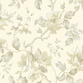 Berkin Large Floral Vine Cream-Linen Wallpaper AL13725