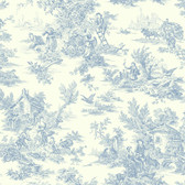 Ashford House Toiles Champagne Toile Blue-White AT4229 Wallpaper